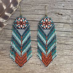 Mayahuel...Fractal seed bead earrings, sacred geometry, handmade, OOAK, tribal, gypsy, boho, native style, southwestern