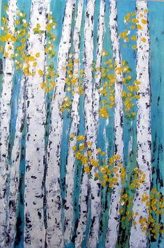 Aspen/Birch Trees Acrylic Painting Original Art on by VickisArt Original Art, Original Paintings, Tree Paintings, Birch Tree Art, Naive Art, Art And Architecture, Art Day, Painting Inspiration, Wood Art
