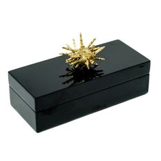 Small Black Lacquer Box with Gold Spiny Urchin