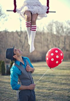 Circus themed engagement photos