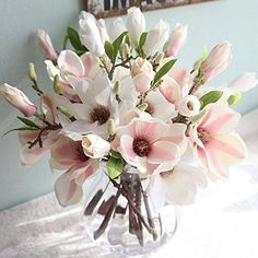 Prevently Brand New Creative Vivid Artificial Fake Flowers Leaf Magnolia Floral Wedding Bouquet Party Home Desk Decor Relax Gift (B)