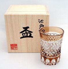 JAPANESE SAKE Cut Glass Edo Kiriko Shot-glass Amber DIA