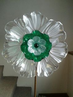 Mikasa crystal wavy flower with green