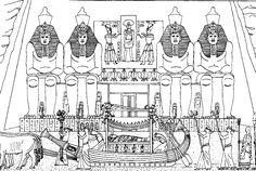 Free coloring page coloring-adult-egypt-funeral-of-a-pharaoh. Funeral of a Pharaon, in front of a temple