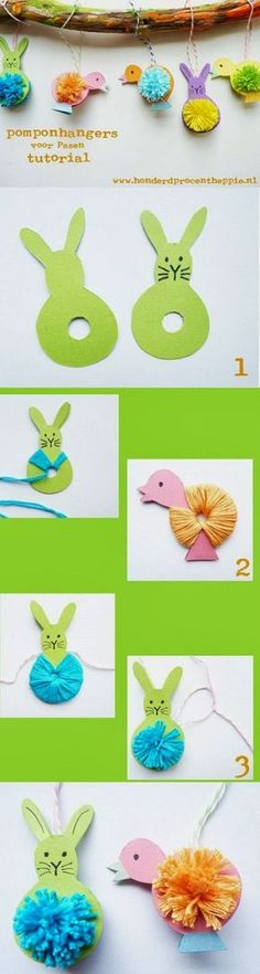 Easter Pom Poms Tutorial easter diy diy ideas easy diy kids crafts party ideas easter crafts easter craft easter decor crafts for kids easter gifts Spring Crafts, Holiday Crafts, Fun Crafts, Decor Crafts, Easter Activities, Craft Activities, Preschool Crafts, Easter Art, Easter Bunny