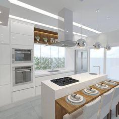 """764 curtidas, 11 comentários - ❤ Arquitetura de Interiores (@criarinteriores) no Instagram: """"Ficou pronto mais um projeto! Cozinha integrada com sala de jantar como tantos clientes sonham! …"""""""