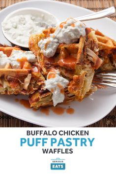 The tangy, spicy, cheesy flavors of Buffalo chicken come together in this indulgent puff-pastry waffle.