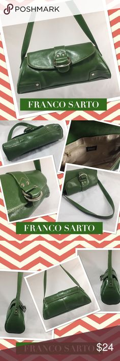 """FRANCO SARTO Forest Green Leather Shoulder Bag FRANCO SARTO Forest Green Leather Shoulder Bag. 12.5"""" x 9"""" x 3.75"""" with 9 inch strap drop. Silver hardware detailing.   Like new, beautiful preowned condition! Orig. $89. Franco Sarto Bags Shoulder Bags"""