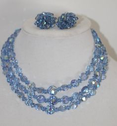 Vintage 3 Strand  Blue AB Crystal Necklace and Earings  Something Blue AB / Triple