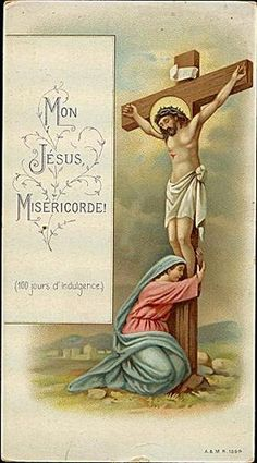 Christ on the Cross with His mother holy card. #inspiration #Lent
