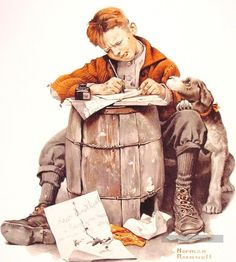 Norman Rockwell Little boy writing a letter painting, oil on canvas & frame; Norman Rockwell Little boy writing a letter is shipped worldwide, 60 days money back guarantee. Norman Rockwell Prints, Norman Rockwell Paintings, Peintures Norman Rockwell, Illustrator, Retro, Mail Art, Caricatures, American Artists, Little Boys