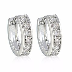 GULICX Lady Jewellery Retro-style Clear Zircon Diameter 18mm Silver Tone Huggie Earrings Hoops for Girl -- You can find more details by visiting the image link.
