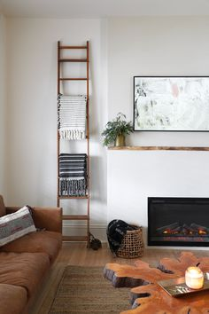 » MY DIY | Minimalist Live Edge Electric Fireplace