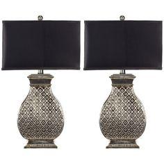 Indoor 1-light Royal Spain Silver Finish Table Lamps (Set of 2) Master Bedroom - Different Shade