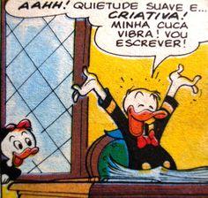 Ilustração Pato Donald escritor,  Walt Disney.