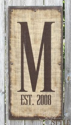 monogrammed burlap with letter and wedding date