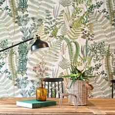 Green Sanctuary set of 3 panels by Mind the Gap - White / Green : Wallpaper Direct Fern Wallpaper, Botanical Wallpaper, Pattern Wallpaper, Large Print Wallpaper, Wallpaper Designs For Walls, Green Floral Wallpaper, Green Kitchen Wallpaper, Accent Wallpaper, Painted Wallpaper