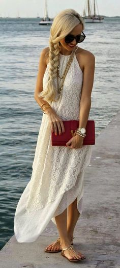 White lace maxi dress , A Spoonful of Style. Pinned by Cindy Vermeulen. Please check out my other 'sexy' boards. A Spoonful Of Style, Look Fashion, Fashion Outfits, Fashion Clothes, White Lace Maxi Dress, White Maxi, Casual Dresses, Summer Dresses, Lolita