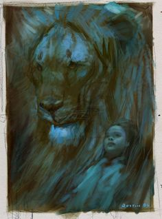Aslan & Lucy sketch by Justin Sweet (concept art from Prince Caspian)