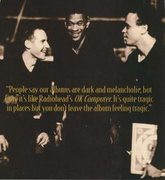 Rare one of Massive Attack back in 1998 all looking happy together. Good quote too from about the similarities between Mezzanine and Radiohead's Ok Computer. Photo taken from the interview in Mojo Magazine issued July Ok Computer, Computer Photo, Massive Attack, Trip Hop, Indie Pop, Happy Together, Radiohead, Rock N Roll, Good Music