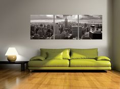 This epic black and white print of New York's Empire State Building inspires awe and motivates ambition. $220 Available in 3 sizes. Elementem Photography, triptych, B&W, black and white, cityscape, Manhattan, Empire State, New York City, modern