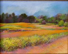 "Original painting, pastels, landscape, art & collectibles, pan pastels, soft pastels, framed art, ""Fields of Gold"", free domestic shipping. by cherylknoxartrocks on Etsy"
