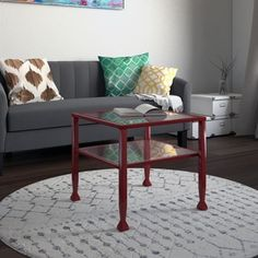 RiNo Brighton Red Metal and Glass Bunching Coffee/ Cocktail Table - Free Shipping Today - Overstock.com - 17078413