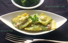 Ravioli cremosi broccoli patate e pancetta