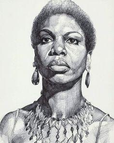 Nina Simone, Black Women Art, Black Art, Jorge Ben, Sisters Art, Afro Art, Hippie Art, Sketch Painting, Art For Art Sake