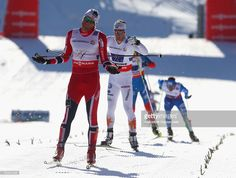 Petter Northug jr.of Norway reacts to securing victory for his team during the Men's Cross Country Relay 4x10 Km at the FIS Nordic World Ski Championships on March 1, 2013 in Val di Fiemme, Italy.