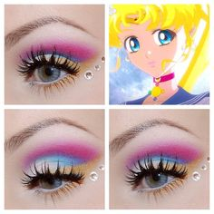 #sailormooncrystal inspired makeup look using #mybeautyaddiction cosmetics, #benefitcosmetics they're real mascara