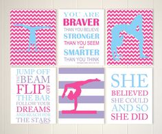 Gymnastics quotes pre teen girl wall art by PicabooArtStudio