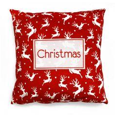 Poszewka Velvet Winter Deers 45x45 cm czerwony Merry Christmas, Velvet, Throw Pillows, Winter, Merry Little Christmas, Toss Pillows, Cushions, Merry Christmas Love, Wish You Merry Christmas