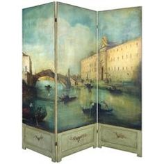 19th Century Venetian Painted Oil on Canvas Screen, Signed L.D Mott-Guardi