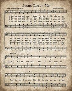 Jesus Loves Me Printable Vintage Hymn Sheet Music Print Song Sheet, Sheet Music Book, Vintage Sheet Music, Church Songs, Church Music, Christmas Sheet Music, Printable Sheet Music, Music Page, Christian Songs