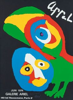Karel Appel New Old Stock Lithograph Poster, Galerie Ariel, Paris, 1974 Art Cobra, Kandinsky, Art Exhibition Posters, Art Posters, Event Posters, Kunst Poster, Art Moderne, Art Abstrait, Art For Kids