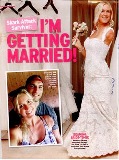 Bethany Hamilton is getting married! (wearing Anne Barge).   In Touch Weekly magazine. Issue: July 15, 2013