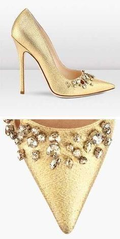 #Golden pumps with rhinestones by #JimmyChoo as your wedding shoes!