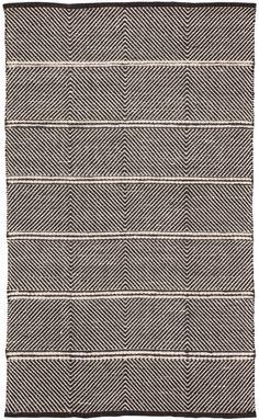 The Nikki Chu designed Tempo flatweave rug features a jute construction for a modern play on the traditional kilim. Globally inspired, a dynamic linear pattern makes a bold statement in eclectic and bohemian spaces with a contrasting black and white color Black White Rug, Black Chevron, Black Rugs, Color Black, Jute Rug, Woven Rug, Big Rugs, Chevron Rugs, Jaipur Rugs