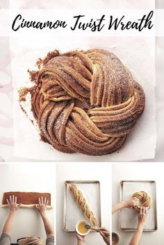 How to make a cinnamon twist wreath. Cinnamon Twist WreathYou can find Bread baking and more on our website.How to make a cinnamon twist wreath. Bread And Pastries, Holiday Baking, Christmas Baking, Cinnamon Twists, Cinnamon Bread, Cinnamon Danish Recipe, Cinnamon Wreath Recipe, Christmas Bread, Holiday Bread