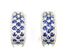 Sapphire and Diamond Earrings in Sterling.