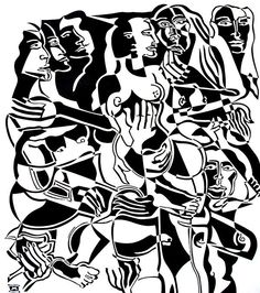 Relativity by Melissa Bates. Visit www.visualemporium.com.au to learn more about Melissa's work. #blackandwhite #art #creative #cutout #abstractart #humanfigures #nude