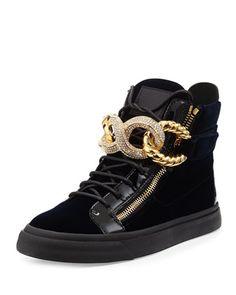 Men\'s Crystal Chain-Front Velvet High-Top Sneaker by Giuseppe Zanotti at Bergdorf Goodman.
