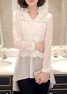 White Long Sleeve Lace Panel Chiffon Tunic Blouse