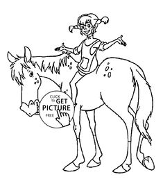 Pippi on the horse coloring pages for kids, printable free - Pippi longstocking