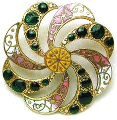 Antique French Enamel Button Pierced Spiral Floral w/ Green Pierreries 1 1/4