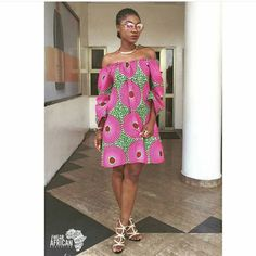ankara off the shoulder ~DKK ~African fashion, Ankara, kitenge, African women dresses, African prints, African men's fashion, Nigerian style, Ghanaian fashion.
