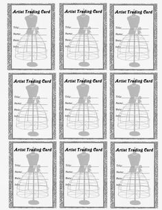 Rachel's Junk in the Trunk: **FREE ViNTaGE DiGiTaL STaMPS**: Free Printable - Artist Trading Card Dress Form La...