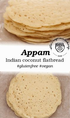 Appam - Indian coconut pancakes/flatbread (gluten-free, egg-free) | A vegan recipe from Nóri's Ingenious Cooking | Ingredients: 2 tablespoons (20g) corn flour, 700 ml water, 350g brown rice flour, 1 teaspoon of sugar, 10g fresh yeast, 100 ml coconut cream or thick coconut milk, ½ teaspoon of salt (to taste), coconut oil for greasing the pan