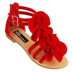 Red flowers sandal for the spring